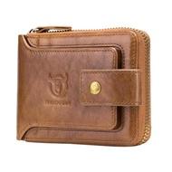 Original Men Genuine Leather Wallet RFID Blocking Coin Purse Pocket Slim Zipper Man Card Holder Cluth dompet lelaki kulit beg duit