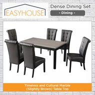 Dense Dining Set   Dining   Timeless and Cultural Marble (Slightly Brown) Table Top