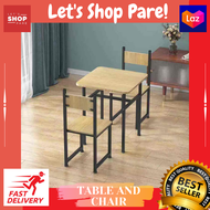 Pares Space Saving Table and chair set. 3-Piece Table and Chair Set - Compact Dining Bar Table Set Small Space for Kitchen Living Room Dinette Coffee Dining Breakfast Table Industrial Design