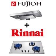 FUJIOH SLM900R SLIMLINE HOOD + RINNAI RB-93US 3 BURNER STAINLESS STEEL GAS HOB