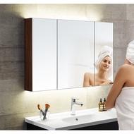 浴室鏡櫃帶燈現代簡約實木鏡箱衛生間壁掛衛浴櫃置物櫃定制
