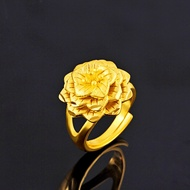 ◐cincin emas◑916 gold ring lace pattern adjustable ring female fashion wild open ring atmospheric gift