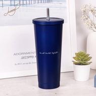 【Hiromimi】不鏽鋼內瓷吸管杯大容量750ml杯蓋x2+吸管x2+吸管刷+杯塞x2(英式紳藍)