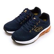 【女】LOTTO 專業飛織避震氣墊慢跑鞋 SUPER LITE系列 藍橘 1616