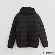 Hang Ten - 男裝 - 素面拉鍊連帽羽絨外套 - 黑