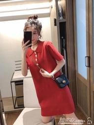 polo衫 t恤裙女短袖2019夏季新款韓版百搭素色polo領中長款針織連身裙潮
