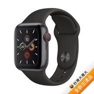 【送充電線+藍牙耳機】Apple Watch Series 5 GPS + LTE 版 44mm 太空灰鋁金屬錶殼配黑色運動錶帶 (MWWE2TA/A)【全新出清品】