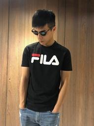 美國百分百【全新真品】FILA 短袖 T恤 上衣 T-shirt 運動潮流 復古 黑色 深藍 大logo J129