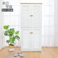 【南亞塑鋼】2.7尺四門塑鋼百葉高鞋櫃(白色+原木色)