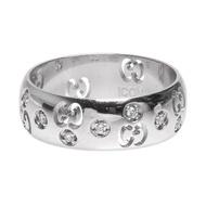 【GUCCI 古馳】經典GG LOGO鑽石鑲嵌18K白金簍空造型戒指(銀402768-ARG)