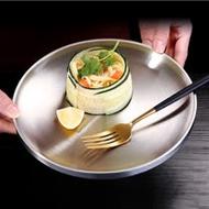 PUSH!餐廚用品加厚304不銹鋼圓盤平盤盤子餐盤子餐具圓形平盤23公分E153