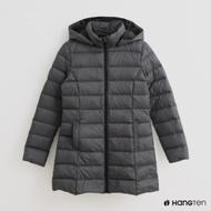 Hang Ten -女裝 - 簡約高領連帽羽絨外套 - 灰