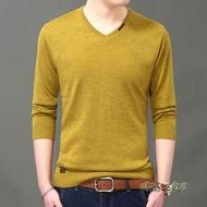 秋季薄款羊毛衫 男V領純色打底針織衫毛衣 男裝長袖T恤男