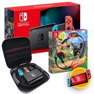 任天堂Switch主機(電量加強版)+健身環大冒險+健身環專用豪華收納包《贈:玻璃保護貼+手把果凍套含類比組》紅藍手把