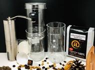 Cold Brew ชุดทำกาแฟสกัดเย็น กระดาษกรอง ช้อนตวงกาแฟ เครื่องบดกาแฟมือหมุน เมล็ดกาแฟคั่วกลาง 250g.