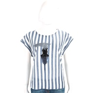 TRUSSARDI 藍白條紋創意LOGO貼飾短袖T恤