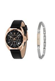 Trimarano 男士黑色皮革石英計時碼手錶 R8871632002 + 精鋼皮革手鍊 JM16