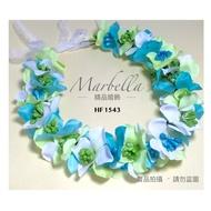 新娘頭飾 新娘飾品 森林系花朵手工不凋花擬真花環 緞帶 藍綠