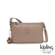 【KIPLING】極簡個性卡其色雙袋斜背小包-MIKAELA