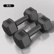 Premium Hexagon Dumbbell (5kg/6kg/10kg/12kg/15kg/20kg x2)Rubber Coated Iron Dumbell Contoured Chrome Bar