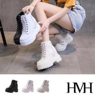 【HMH】厚底馬丁靴 內增高馬丁靴/百搭經典潮流厚底內增高短筒馬丁靴(3色任選)