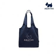 【AGATHA】純色線條LOGO購物袋造型肩背 手提 帆布包