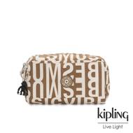 Kipling 音樂派對復古卡其字母印花長形化妝包-GLEAM