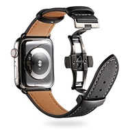 Cow Leather Strap For Apple Watch 6 band 40mm 44mm bracelet i watch series 5 4 3 SE Luxury Steel Buckle 38mm 42mm Replacement Band