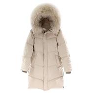 【米蘭精品】羽絨外套白鴨絨夾克(連帽大毛領蓬鬆過膝女外套73zc1)
