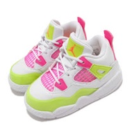Nike 休閒鞋 Jordan 4 Retro 童鞋 經典款 喬丹四代 皮革 簡約 小童 穿搭 白 粉 CV7807100 CV7807-100