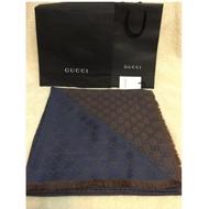 正品代購Gucci 雙色圍巾(藍咖)披肩Gucci圍巾精品圍巾現貨供應