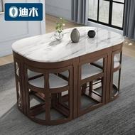 折疊餐桌家用小戶型伸縮實木飯桌酒店餐廳橢圓大理石餐桌椅組合 MKS