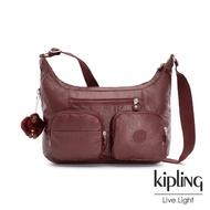 【KIPLING】雅緻紅褐素面雙層側背包-JARITA