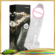 Reusable Extender Cock Crystal Condoms with Spike and Bolitas for Men Big Head Ribbed Enlarge Penis
