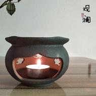 粗陶溫茶器酒精燈爐茶壺干燒臺蠟燭煮茶爐陶瓷加熱保溫底座暖茶器