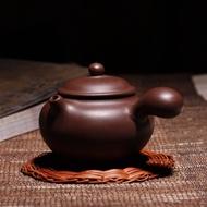 茶緣紫壺蓮子側把壺紫泥特價宜興紫砂壺功夫茶壺茶具紫砂禮品定制LOGO