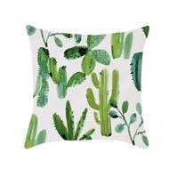 PRETYหมอนลายกระบองเพชรไม้อวบน้ำWatercolor Flower Cushion Cover