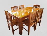 โต๊ะอาหาร โต๊ะกินข้าว ชุดโต๊ะกินข้าว ไม้สักทองทำจากไม้สักแท้100% ขนาด 90x150x80 ซม. ชุดโต๊ะ+เก้าอี้6ตัว ราคาย่อมเยาว์ รับประกันตรงปกทุกชุด