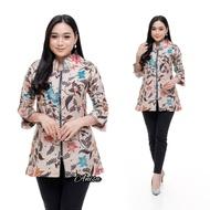 Blouse Batik Modern Jumbo Kerja Guru Murah Wanita Lengan Panjang Terbaru /Baju / Atasan Baju
