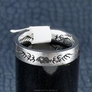 珍珠林~純鋼戒~刺青轉運尾戒(內徑13mm.國際戒4號) #086