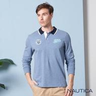 【NAUTICA】撞色領學院風長袖POLO衫(水藍)