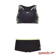 【SPEEDO】女 運動兩截式泳裝 Boom Placement(黑/檸黃)