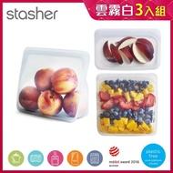 【美國Stasher】白金矽膠密封袋三件組-站站+方形+長形(4種組合顏色任選)