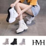 【HMH】厚底短靴 內增高短靴/潮流英文印字拉鍊造型厚底時尚內增高短靴(3色任選)
