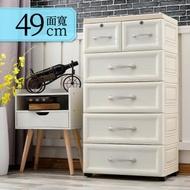 Mr.box 49面寬-鄉村風歐式大5層收納櫃-附鎖附輪(歐式白)