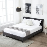 mecor Upholstered Linen Queen Platform Bed/Metal Frame with Square Stitched Headboard/Wood Slats Support,Queen Size/Black