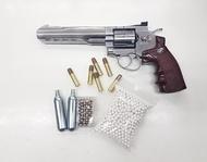 ปืนบีบีกันทรงลูกโม่Wingun702  6 นิ้วCo2 สีเงินแถมฟรีCo2+ลูกเซรามิค1000นัดและลูกชนิดเหล็กสินค้ามือ 1 สามารถเก็บเงินปลายทางได้ ยังไม่มีคะแนน