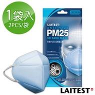 消保官全台大稽查通過認證☛萊潔 PM2.5防霾口罩-成人/海洋藍2入袋裝