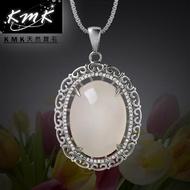 【KMK天然寶石】珠圓玉潤-古鏡(純正台灣天然白玉髓-項鍊)