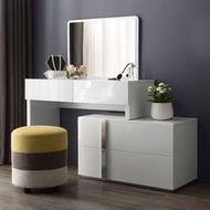 林氏木業現代簡約環保E1白亮光漆面化妝桌組 DA1C (含妝凳BI2H)